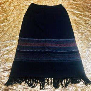 Michele Native American Blanket Trim Maxi Skirt